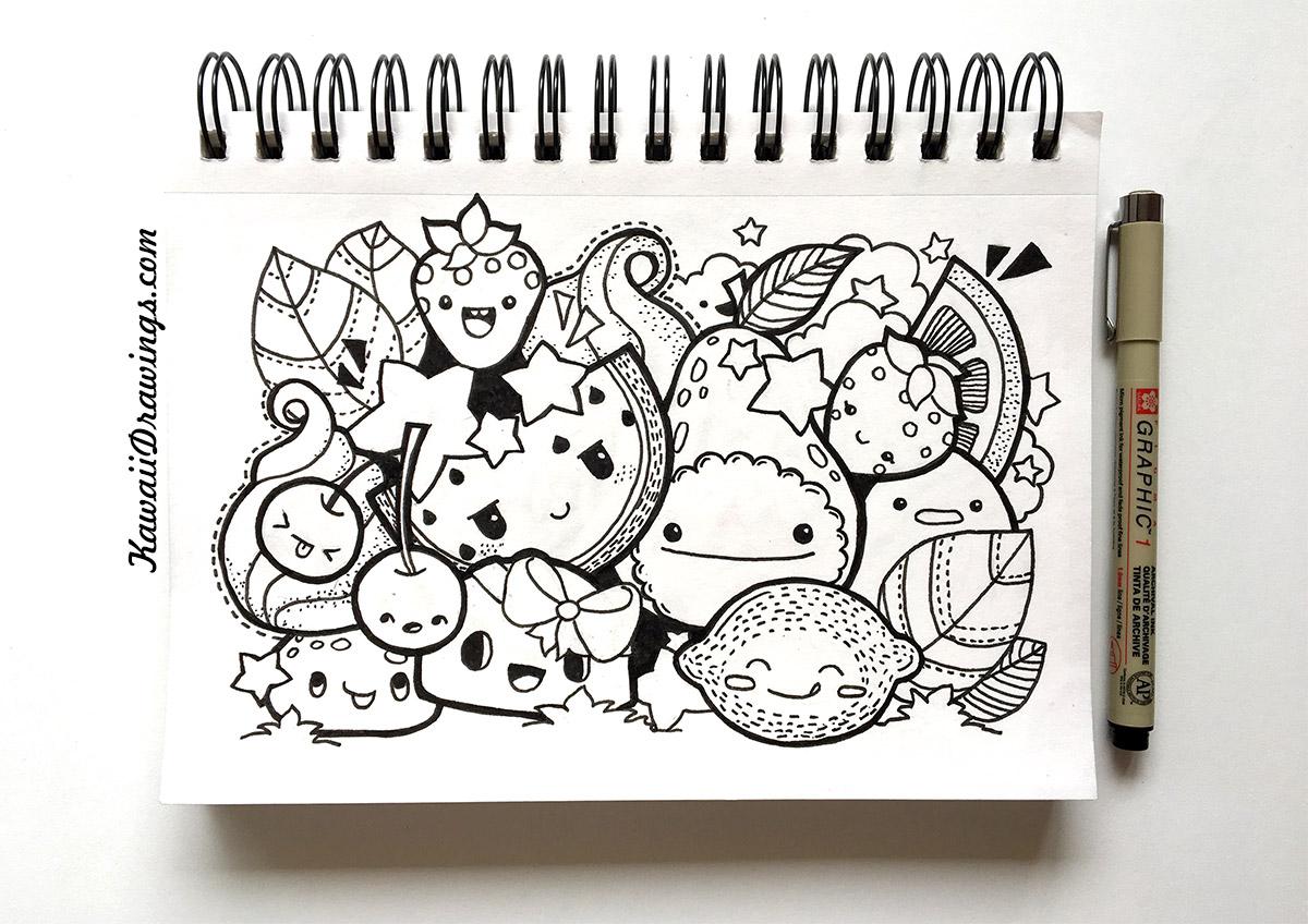 Kawaii Fruits Collage