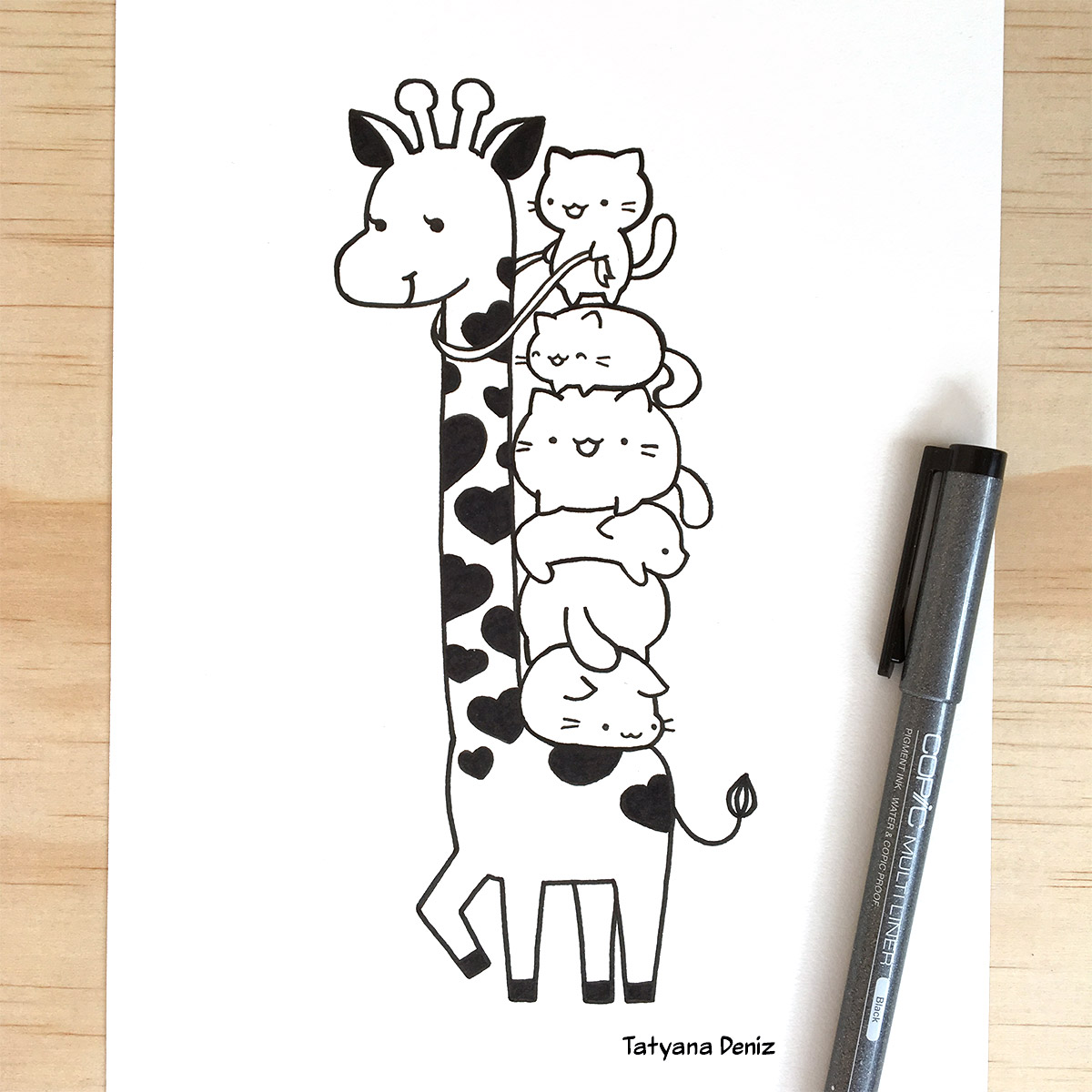 Cute and funny drawing of a cat pile riding a giraffe