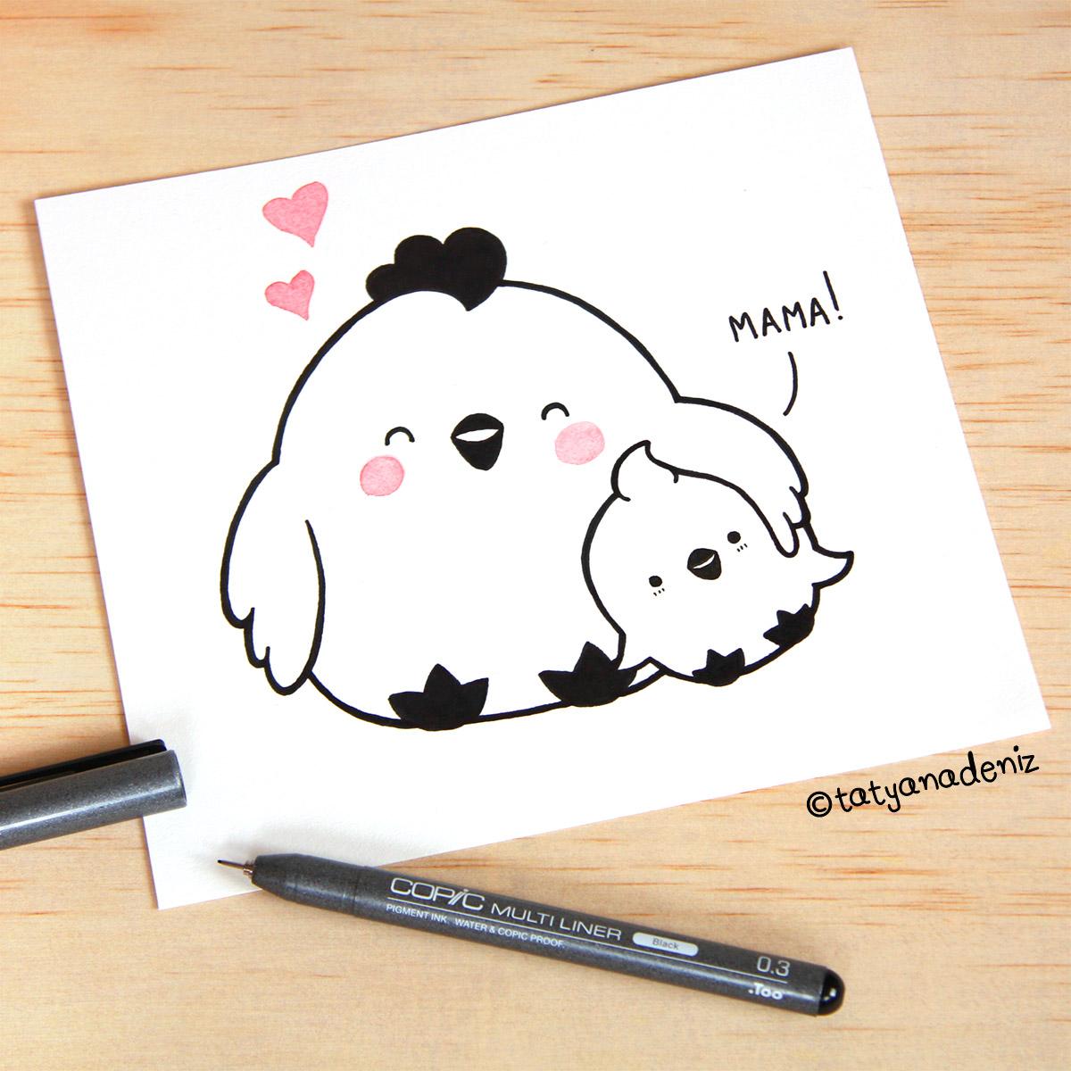 Kawaii Chicken, Mama and Baby
