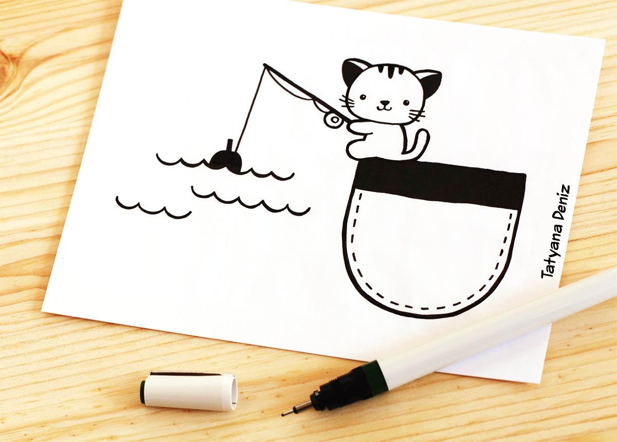 Kawaii kitty gone fishing