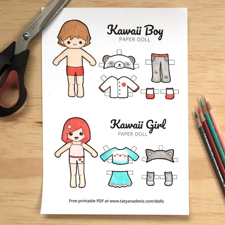Kawaii paper dolls free printable page