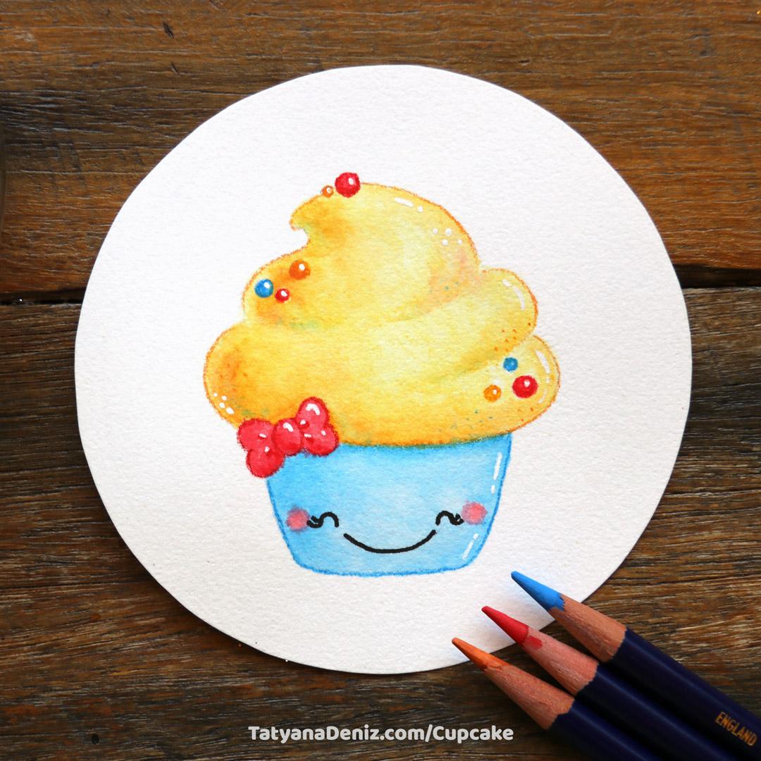 How to draw a cute cupcake step-by-step tutorial by Tatyana Deniz
