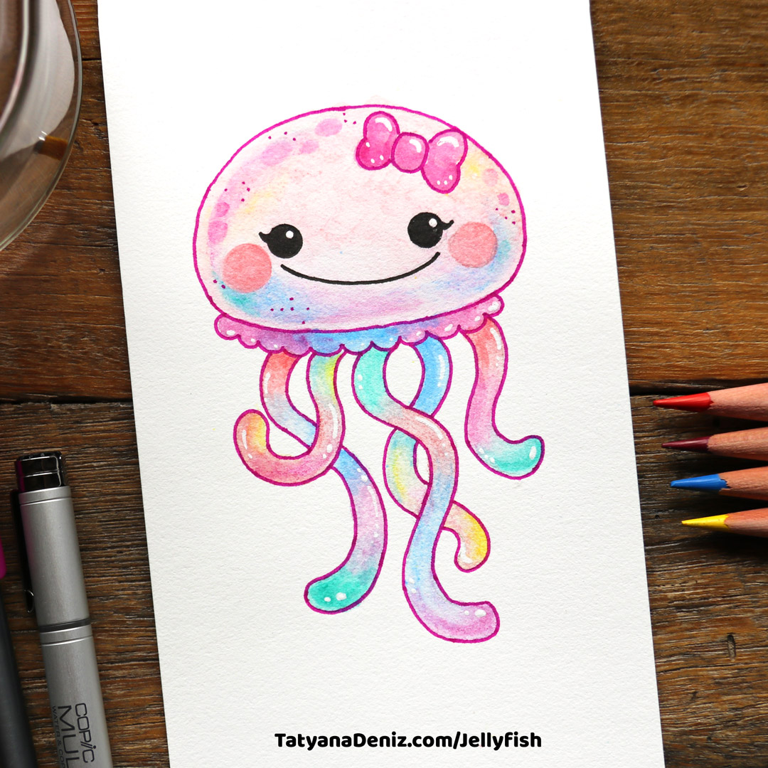 How to draw kawaii jellyfish in 4 simple steps