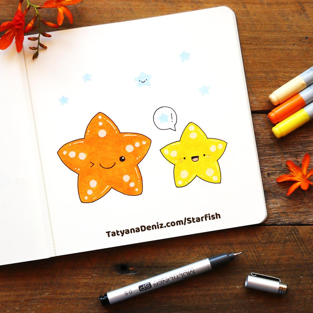 How to draw kawaii starfish step-by-step tutorial by Tatyana Deniz