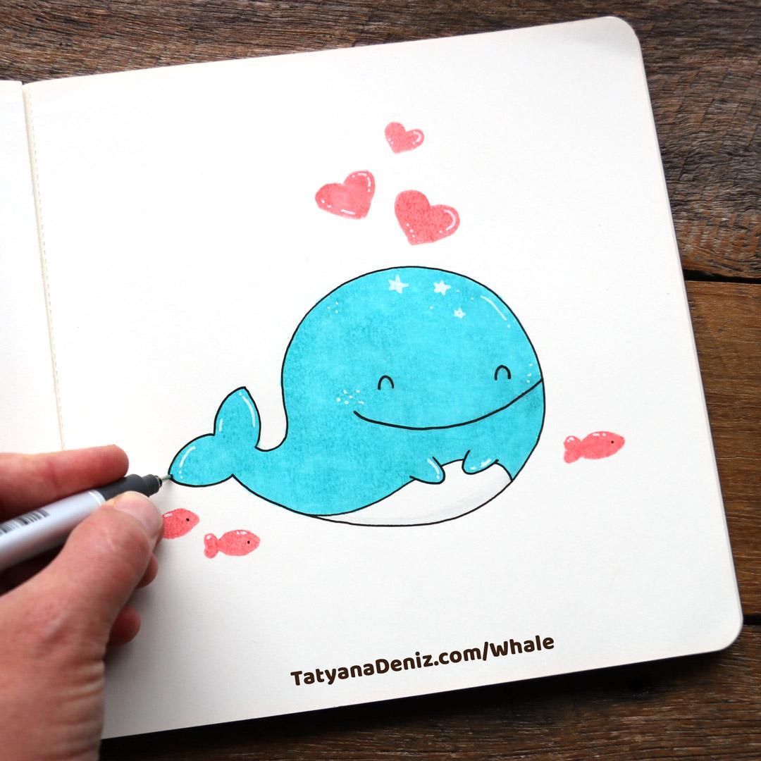 How to draw kawaii whale step-by-step by Tatyana Deniz