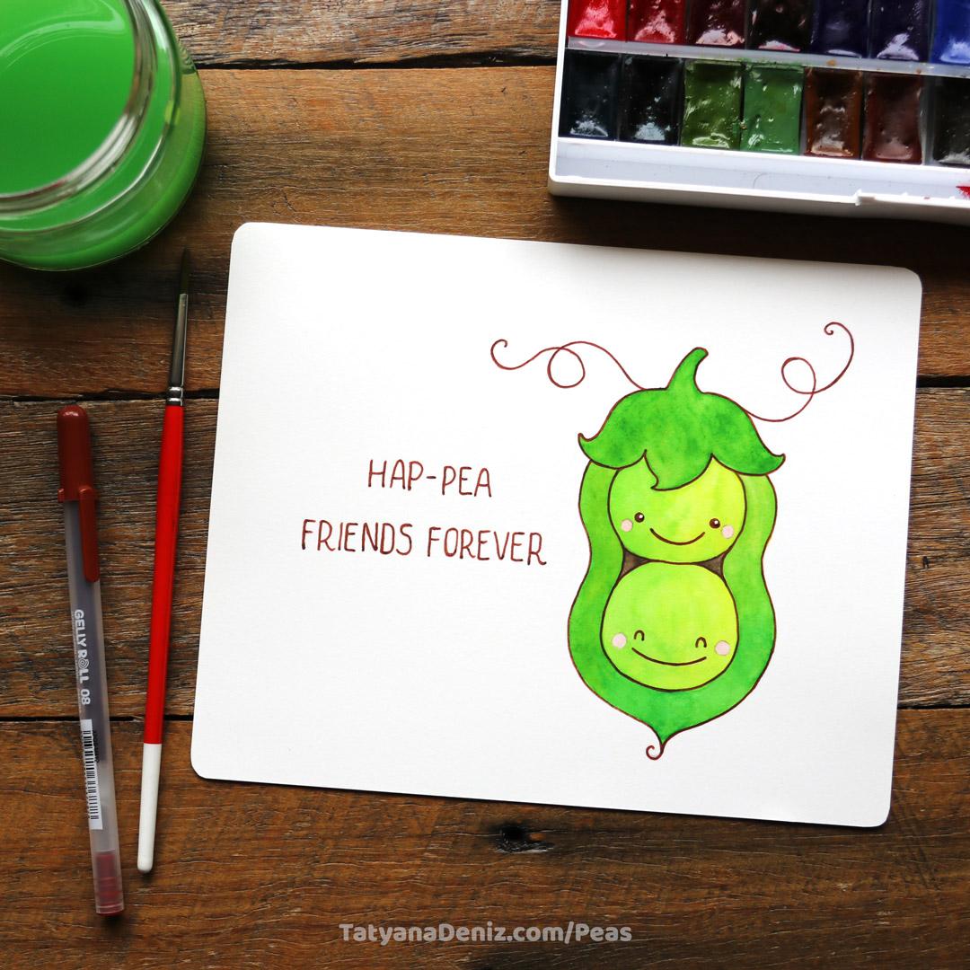 How to draw kawaii sweet peas in a pod, step-by-step tutorial by Tatyana Deniz