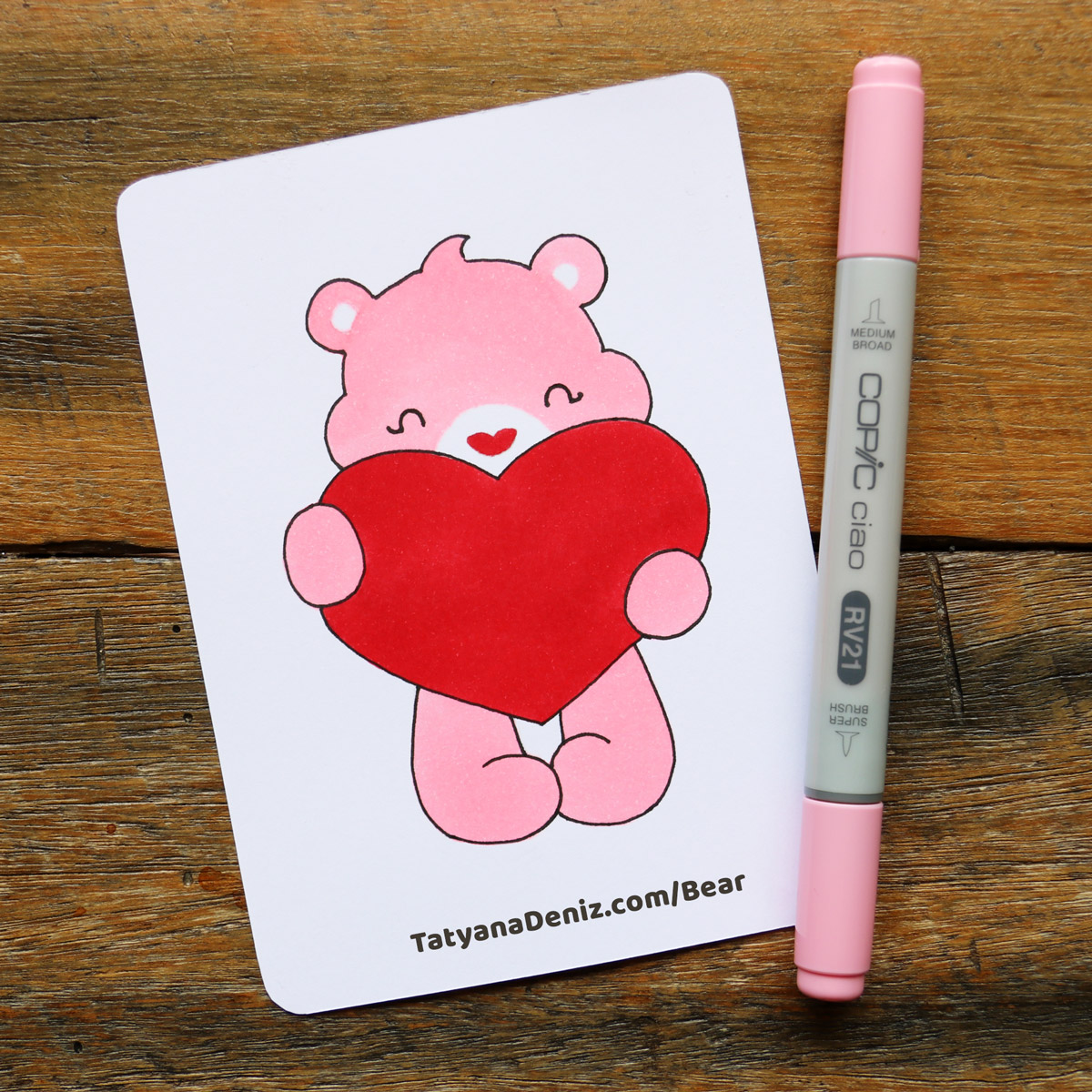 How to draw kawaii Valentine's Day bear step-by-step drawing tutorial