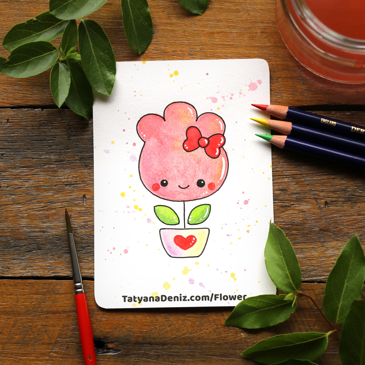How to draw kawaii doodle flower for Valentine's Day