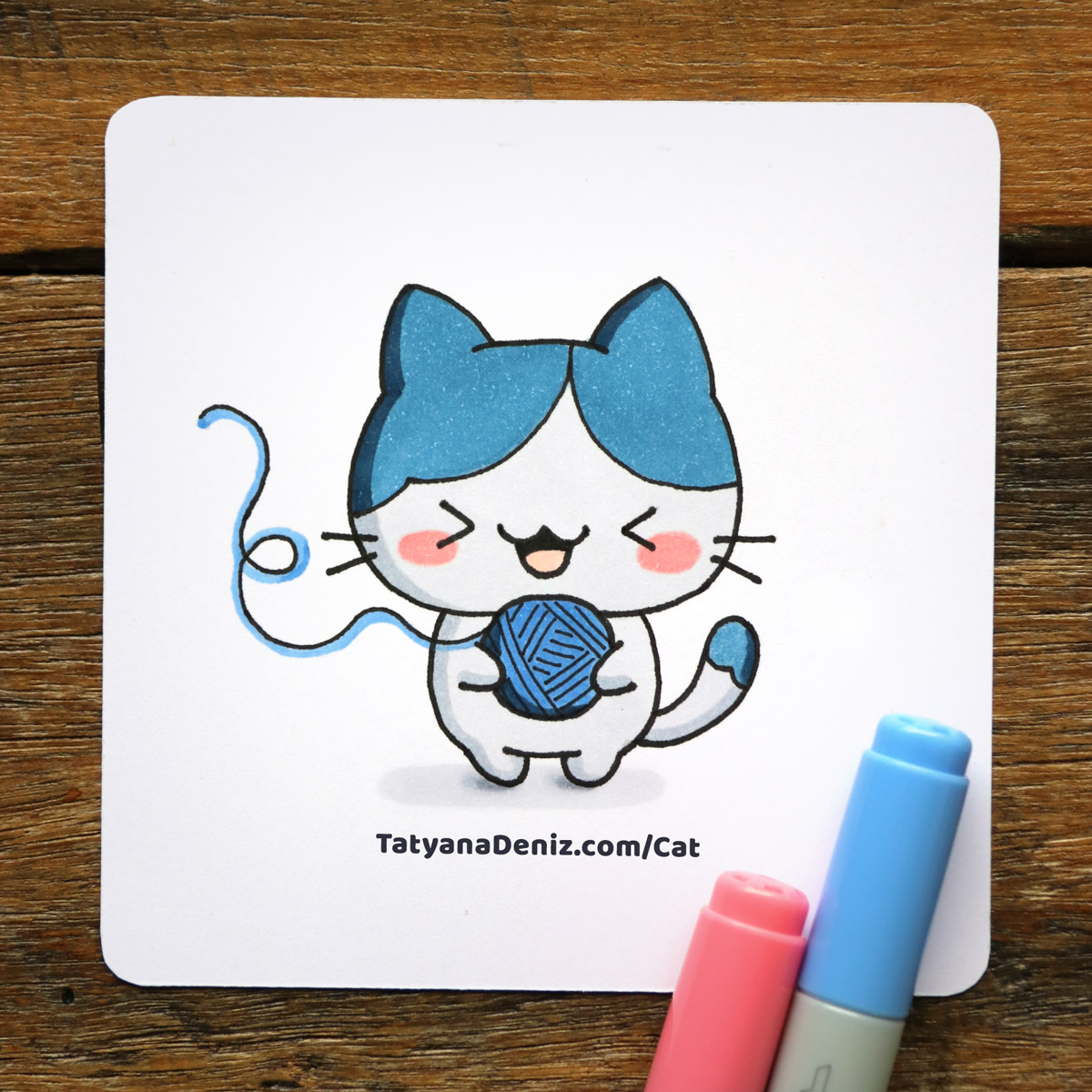 Kawaii Cat Step-by-step Drawing Tutorial