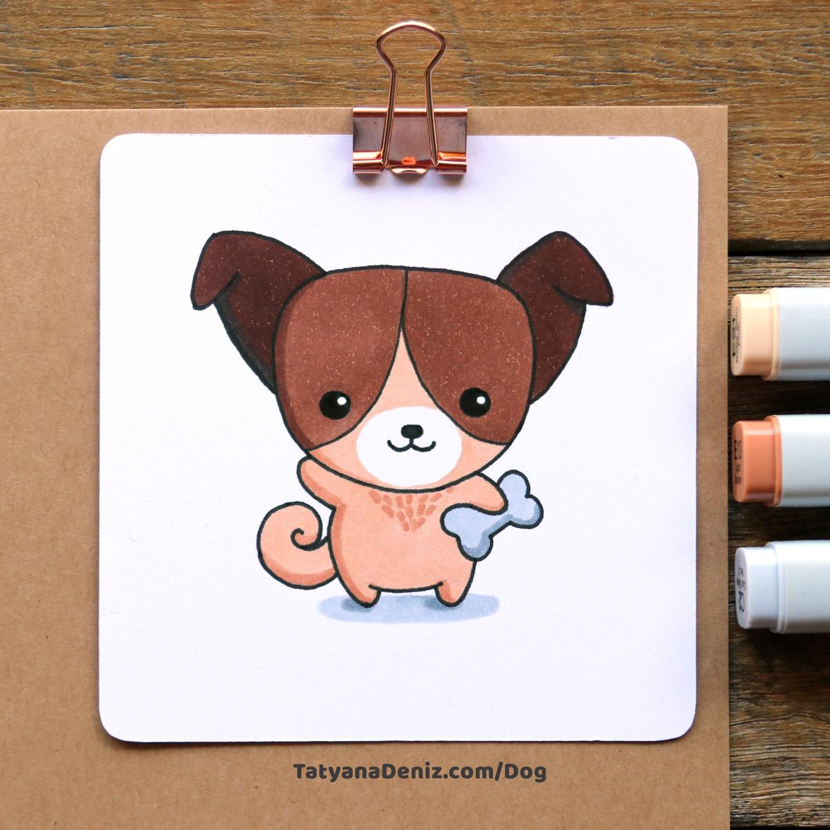Kawaii dog step-by-step drawing tutorial
