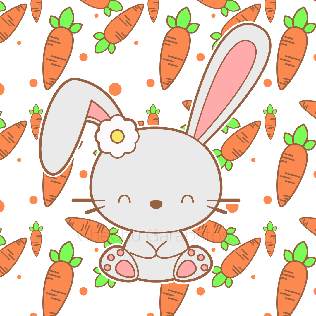 Cute Carrot background Bunny Drawing