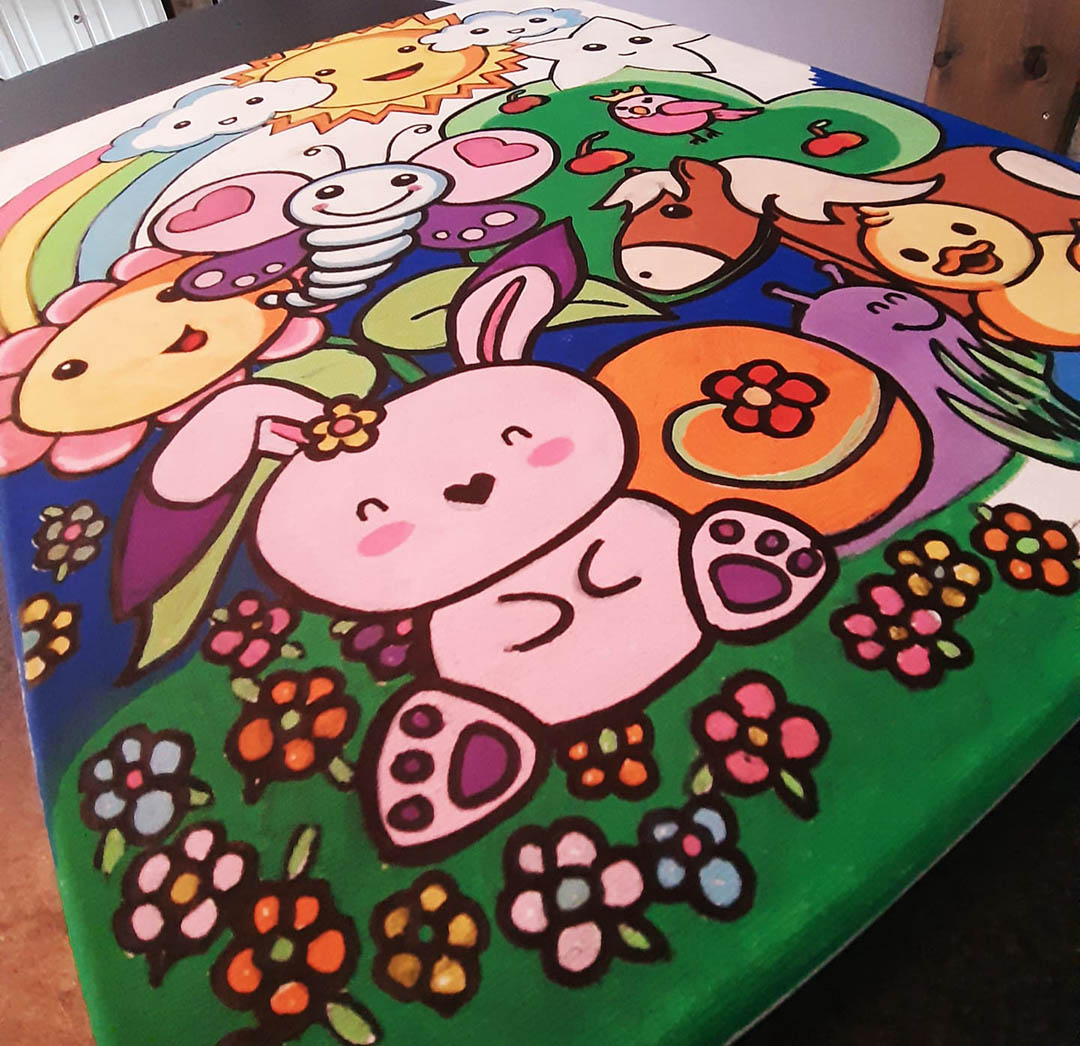 Cute Bunny Collage Painting
