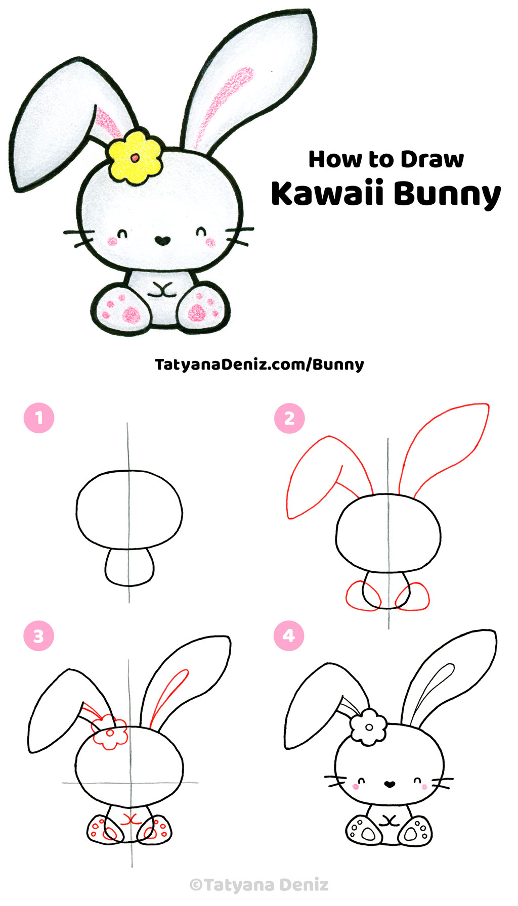 How to draw cute and easy Easter bunny step-by-step