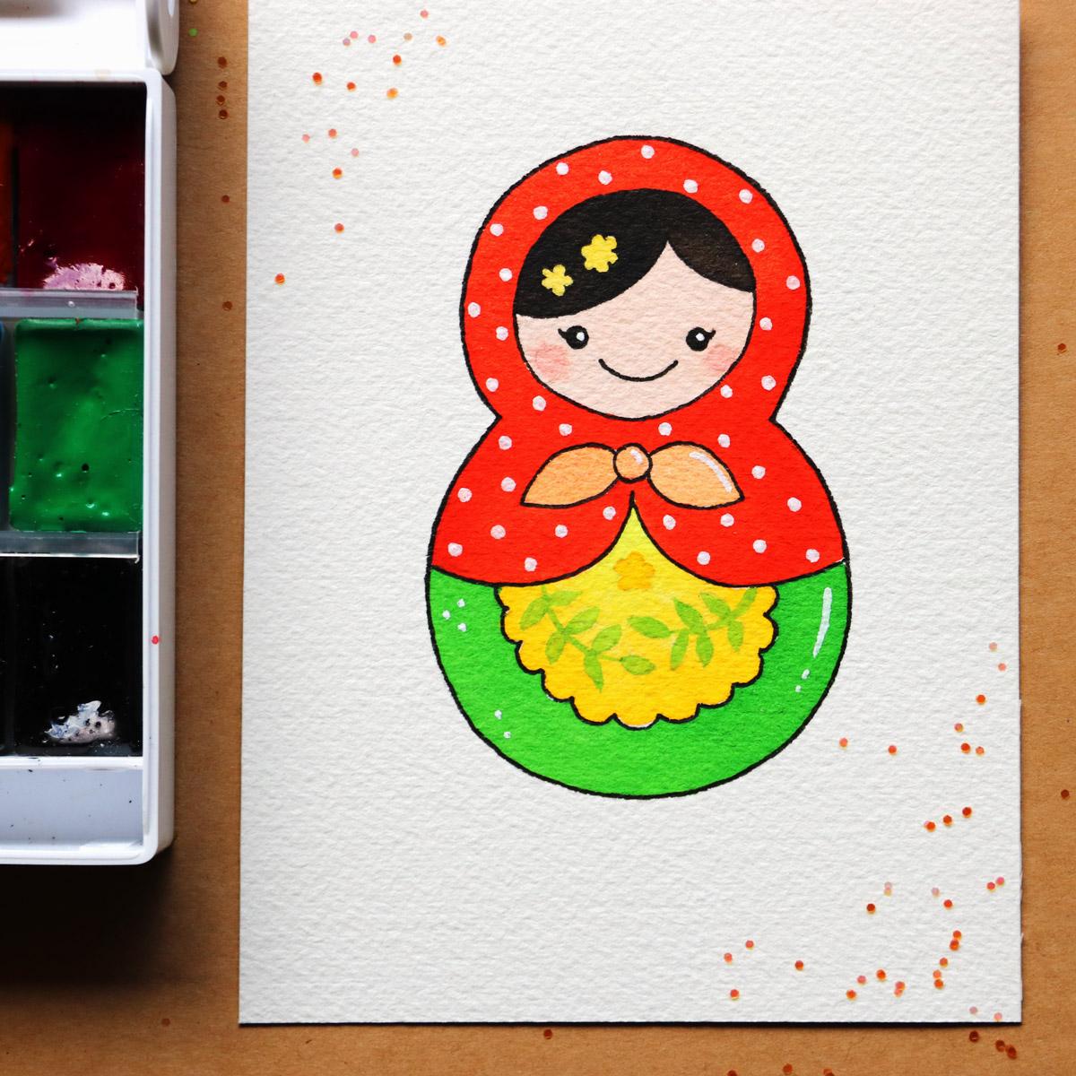 How to draw kawaii matryoshka doll step-by-step
