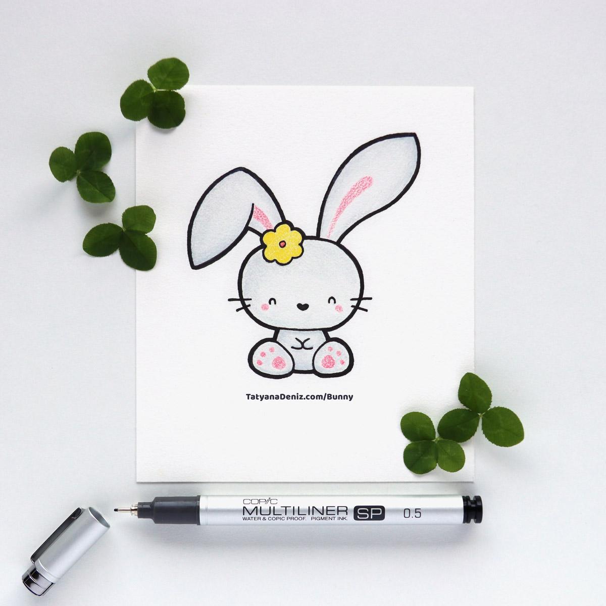 Kawaii bunny cute drawing by Tatyana Deniz