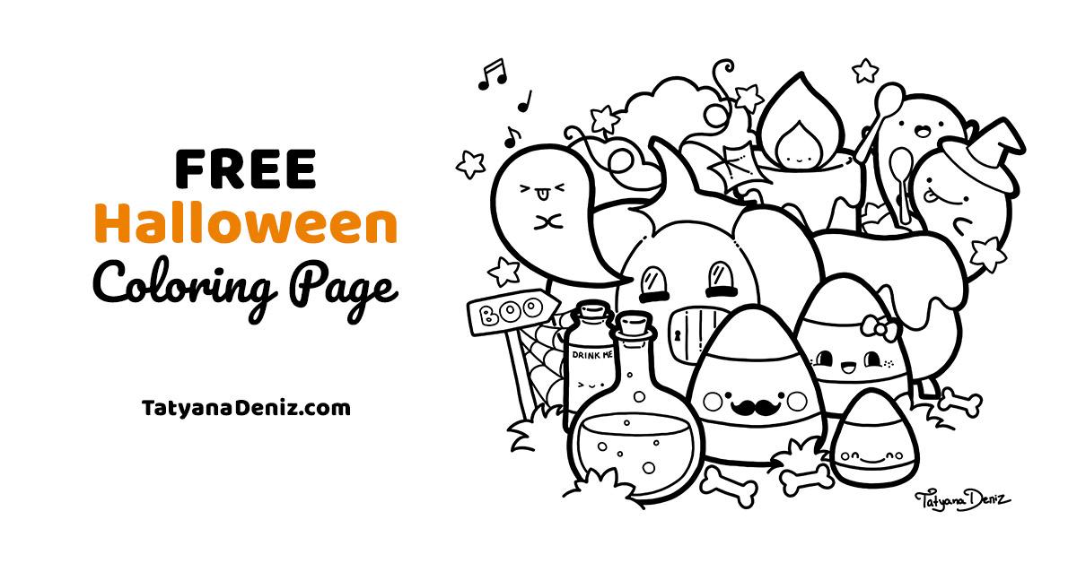 Halloween Coloring Page - Kawaii Doodle Style FREE Printable PDF
