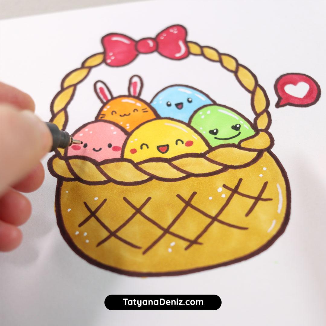 Kawaii easter eggs basket