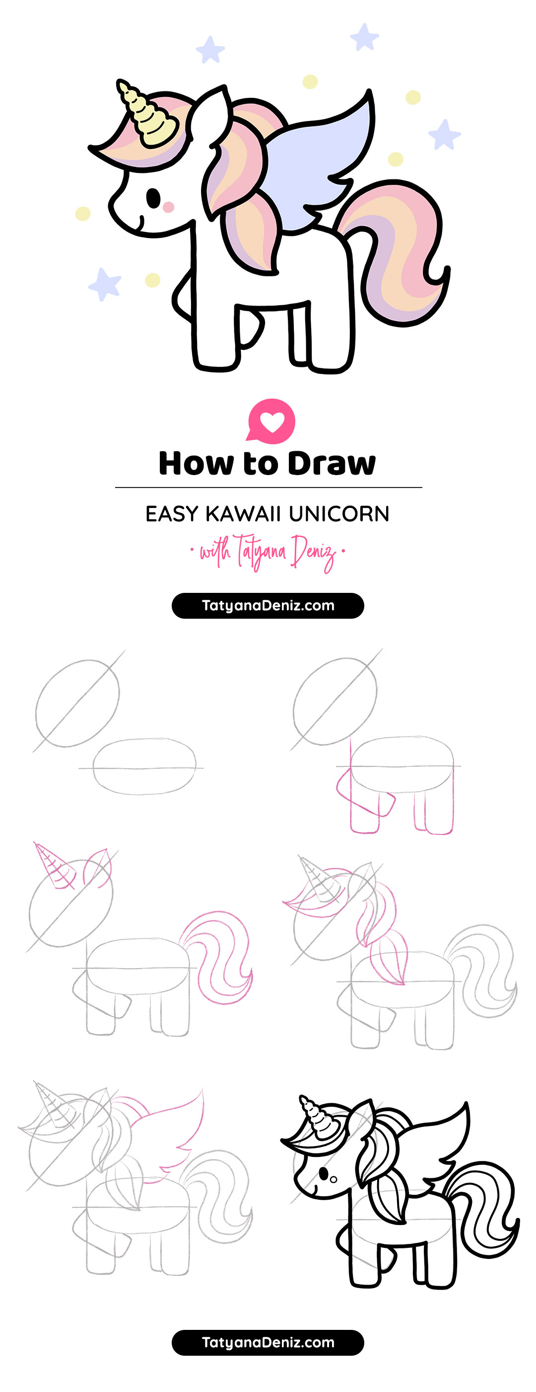 How to draw cute and easy kawaii unicorn step-by-step