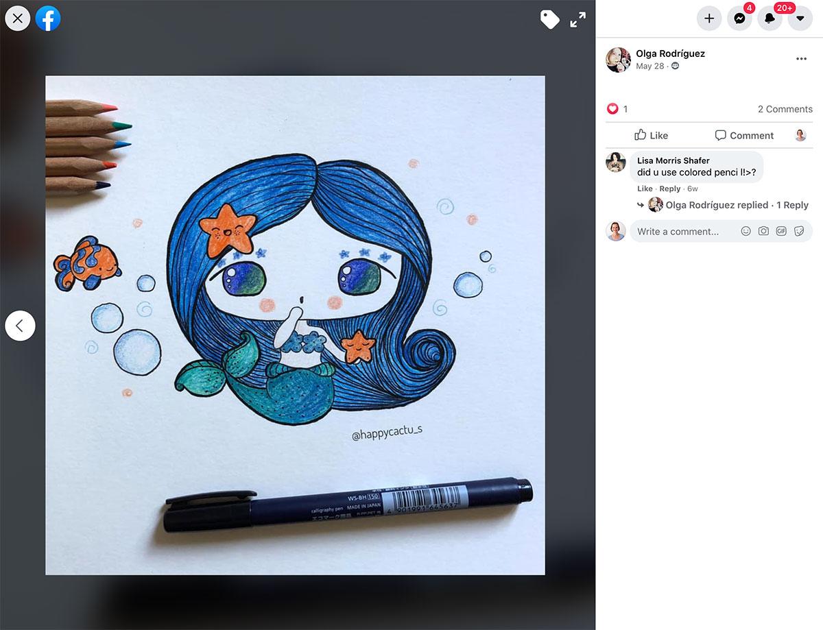 Student gallery mermaid art by Olga Rodriquez