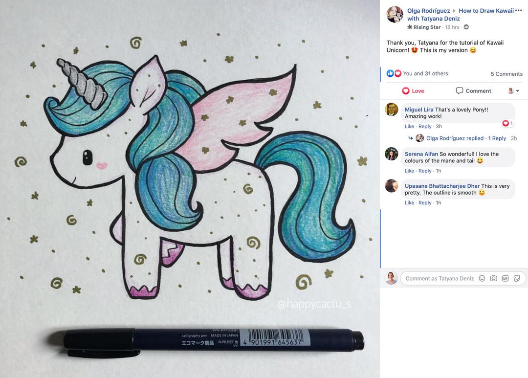 Student gallery kawaii unicorn by Olga Rodriguez