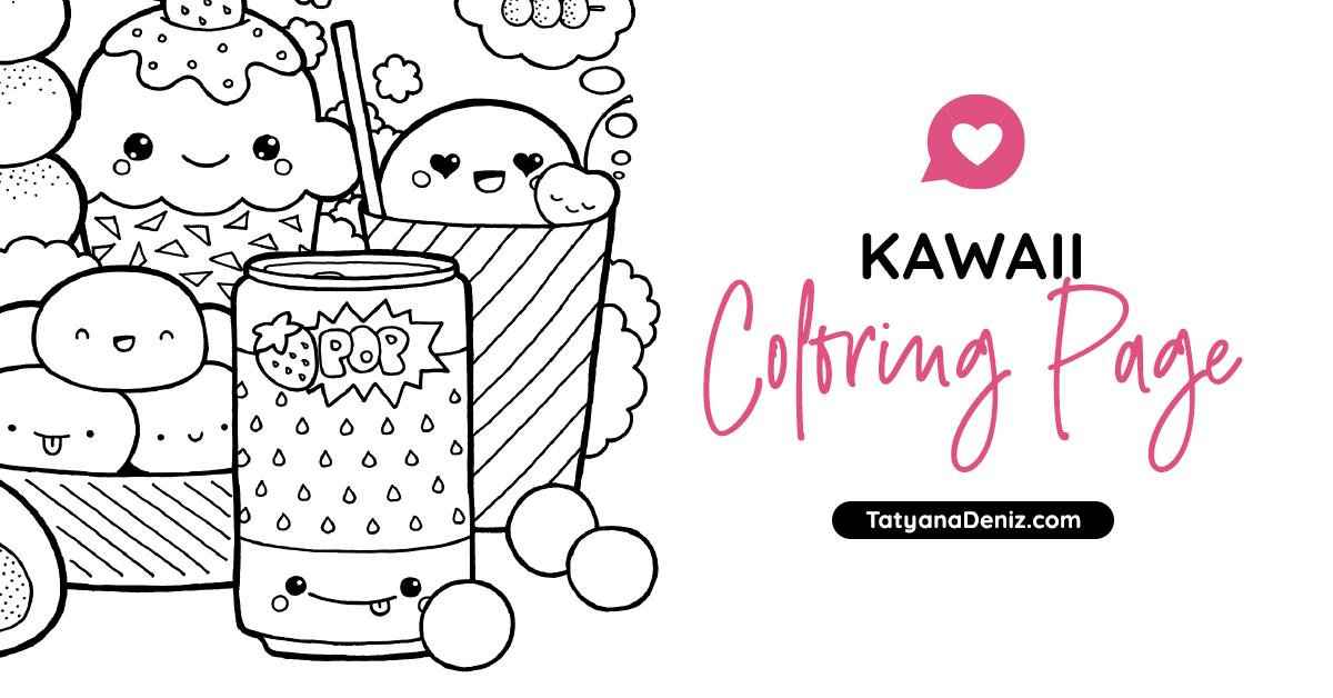 Free Coloring Page With Kawaii Food Doodle (Printable PDF)