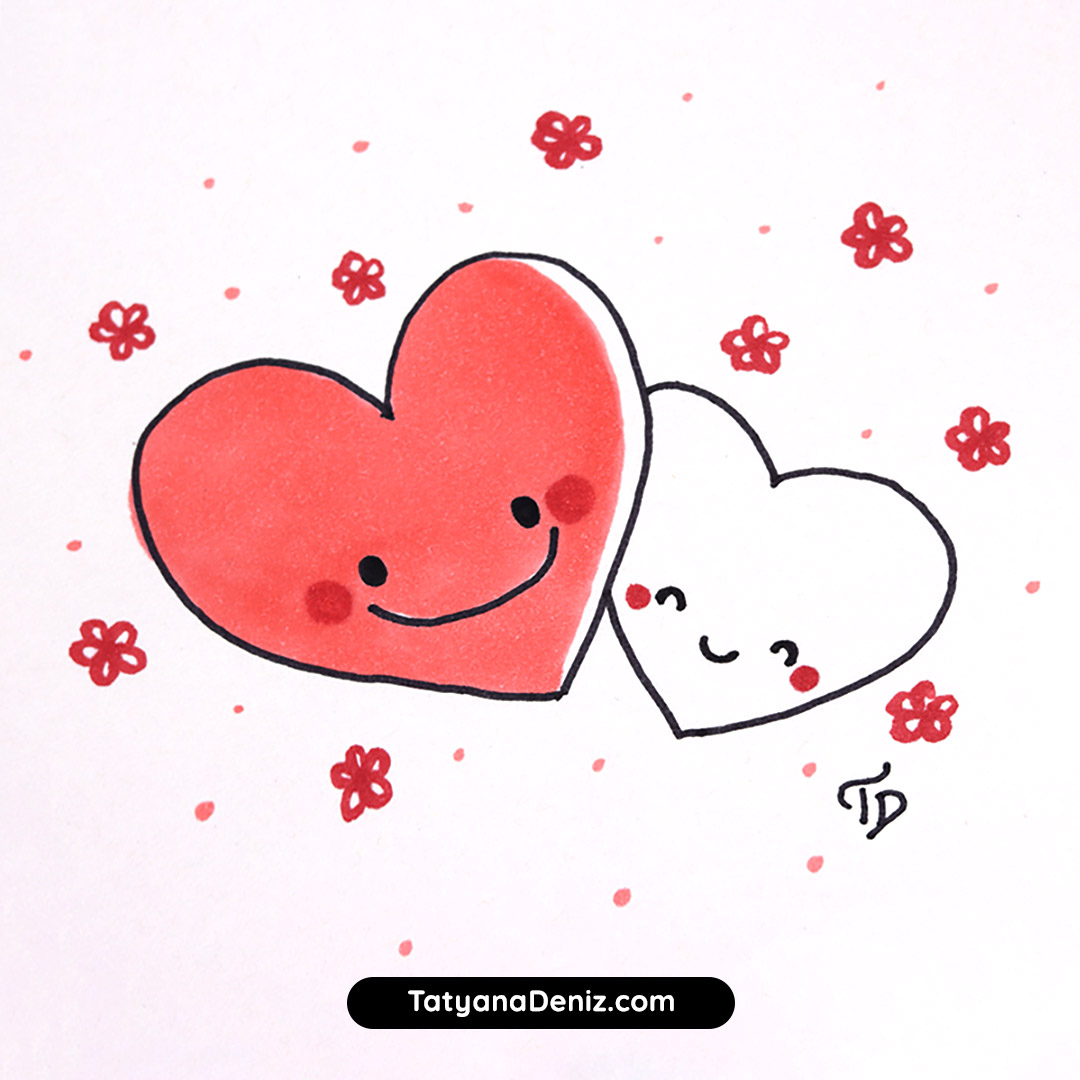Valentine's Day hearts kawaii doodle, cute hearts with flowers by Tatyana Deniz.