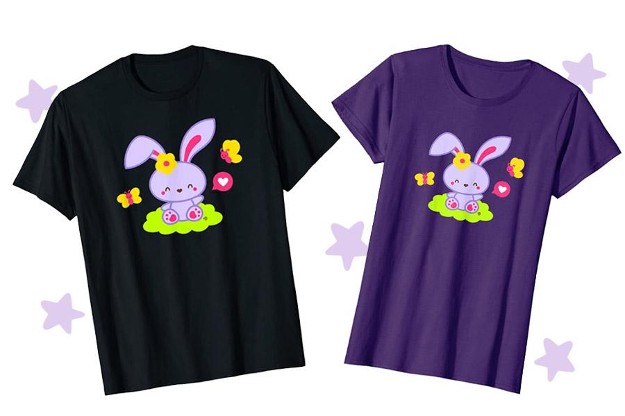 Kawaii Easter Bunny T-shirt by Tatyana Deniz
