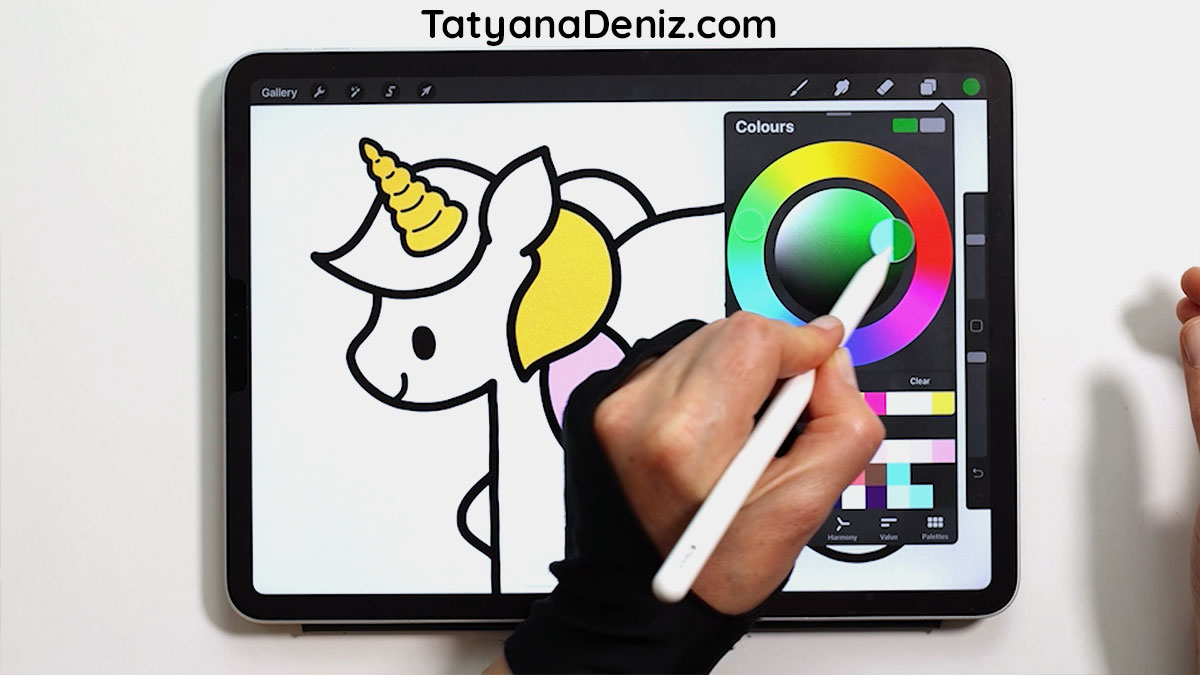 How to select a color in Procreate using color wheel