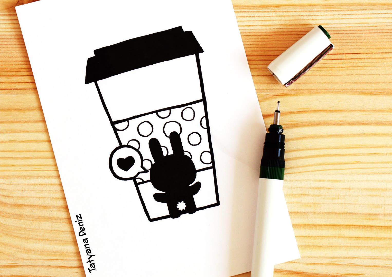 Kawaii bunny coffee