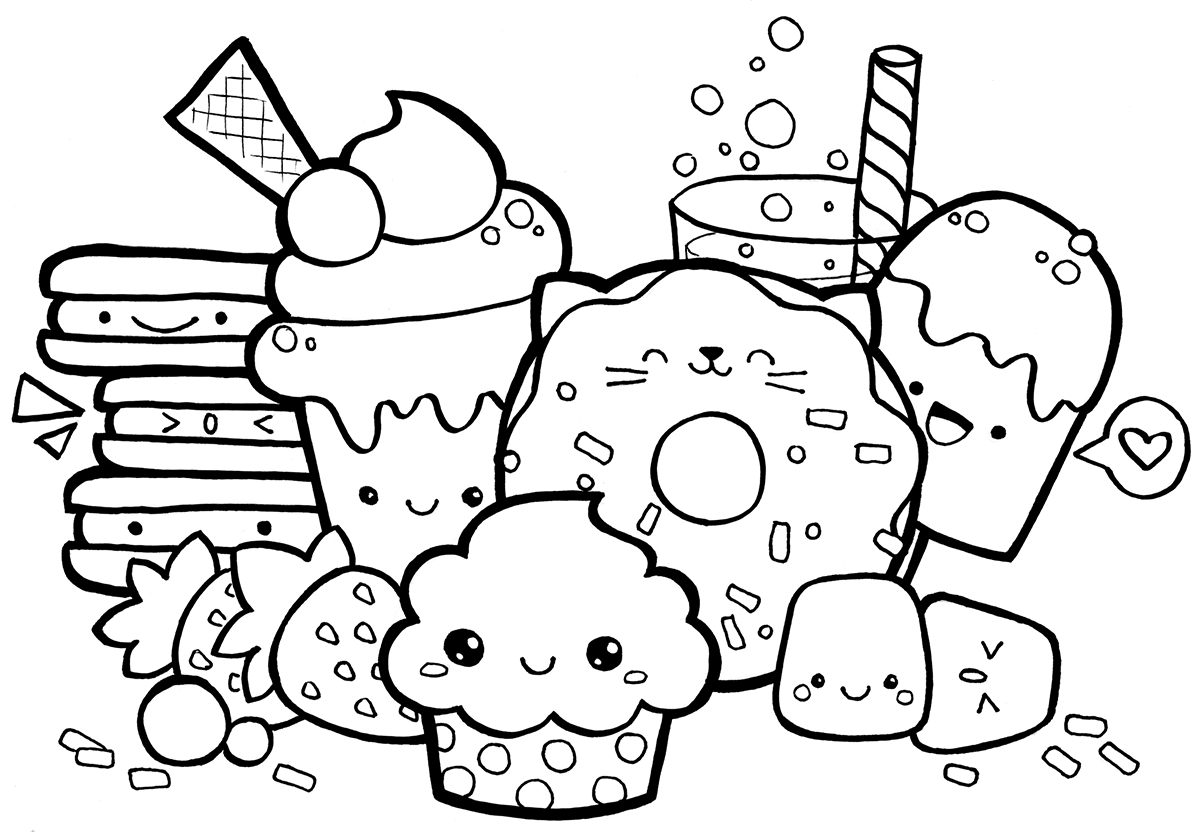 Kawaii sweets and desserts doodle