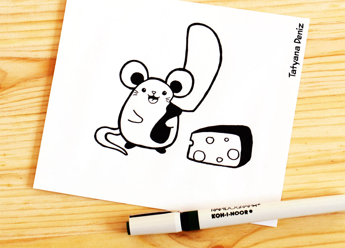 kawaii drawing mouse and cheese